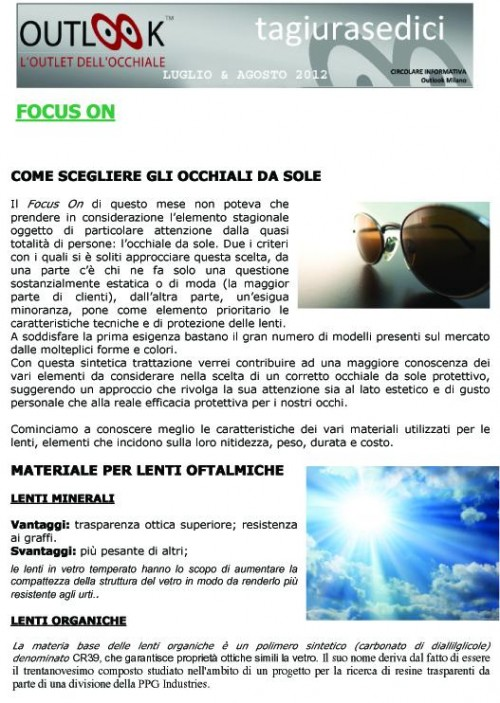 da tagiurasedici agosto 2012 pag. 1 - OUTLOOK - Outlet dell'Occhiale